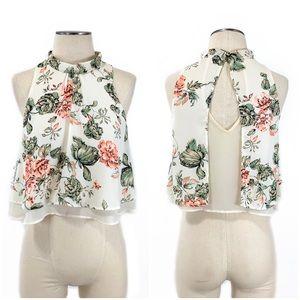 ASTR- Neon Floral Print Crop Top Size XS